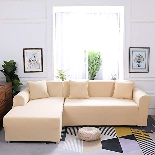 Grea Grey Elastic Couch Sofa Bezug für Wohnzimmer Ecksofa Schonbezug Sesselbezug-Beige, 3-Sitzer 190-230cm
