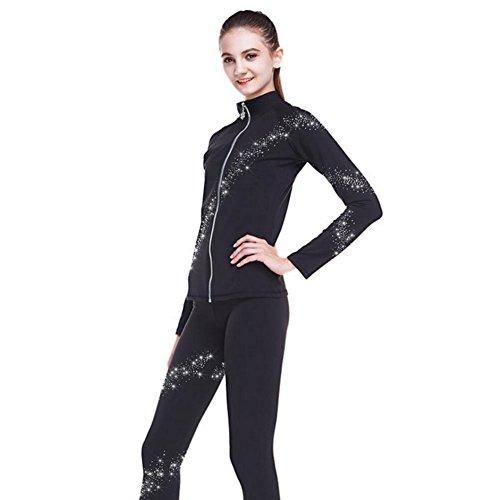 Heart&M Eiskunstlaufen Kleidung Übung Leistung Sets verdicken elastische Wasserdichte Top und Hosen für Roller Blading Eislaufen mit Kristallen All Seasons Black (XS)