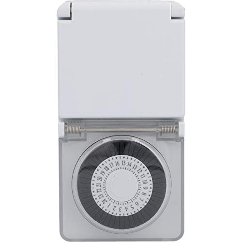 UNITEC Analogue timer mini for outdoor use, timer in the socket, mechanical