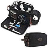 Toiletry Bag for Men and Women Large Travel Toiletry Organizer Dopp Kit Waterproof Canvas Leather Shaving Bag for Travel Accessories, Black