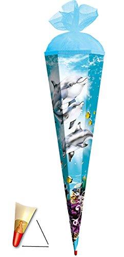 alles-meine.de GmbH Schultüte - Delfin 85 cm - mit Holzspitze - mit Tüllabschluß - Zuckertüte Roth Delfine Fisch Unterwasser Fische Wasser - für Kinder Mädchen & Jungen - Wasserw..
