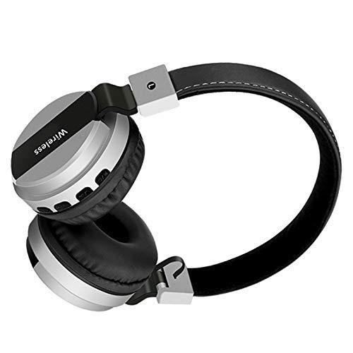 Wsaman Cascos Inalambricos Bluetooth 5.0 Auriculares, Auriculares De Estudio con Cancelación de Ruido, para Correr, Auriculares Inalámbricos de Diadema,Plata