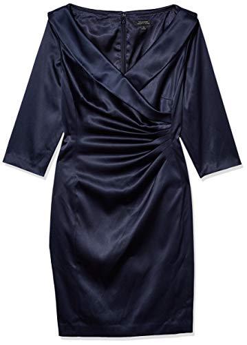 Tahari ASL Women's Surplus Champagne Satin Gown Cocktail Dress, Navy, 22