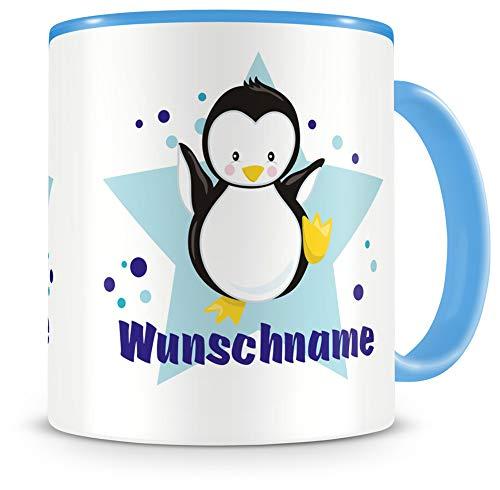 Samunshi® Kindertasse mit Namen Tasse Baby Pinguin Personalisierte Tasse mit Namen Kinder Kinderbecher mit Namen Kindergarten blau 300ml