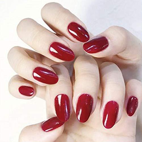 Brishow Coffin Kunstnägel, kurz, künstliche Nägel, rot, Ballerina, glänzend, oval, volle Abdeckung, künstliche Nägel, 24 Stück für Damen und Mädchen