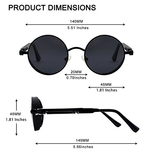 GQUEEN Retro Round Circle Polarized Steampunk Sunglasses Metal Alloy for Women and Men Gold MTS2 steampunk buy now online