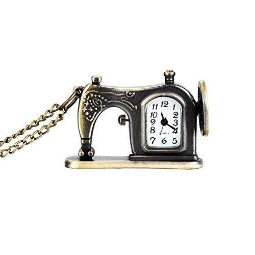 Liamostee Retro Antiek Brons Legering Naaimachine Ontwerp Pocket Horloge Met Ketting Ketting Beste Gift