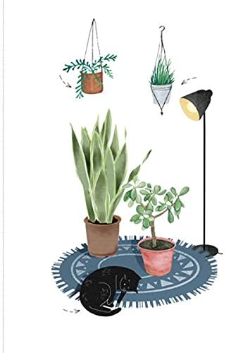 Vinilos para Ventanas Lámpara de Mesa Blanco Verde Negro Planta Animal Película Adhesiva Vinilo Ventana Privacidad para Cristales Anti Calor y UV para Hogar,Oficina 60x200 cm