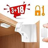 Aiska Baby Sicherheit Magnetisches Schrankschloss–18x Schranksicherung–Unsichtbare Kindersicherung für Schranktür und Schubladen–ohne Bohren und Schrauben