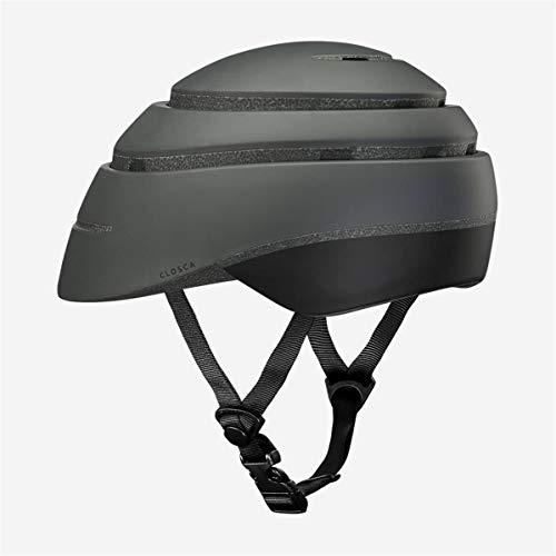Closca Casco de Bicicleta para Adulto, Plegable Helmet Loop. Casco de Bici y Patinete Eléctrico/Scooter para Mujer y Hombre Unisex. Negro/Negro, Talla M