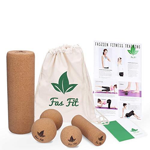Faszien Fitness Set aus Kork: Duoball, Faszienball und 2 Faszienrollen - für Faszientraining, Yoga, Pilates - Umwelt- und hautfreundlich! - inkl. Poster, Übungsheft, E-Book und Turnbeutel (4er Set)