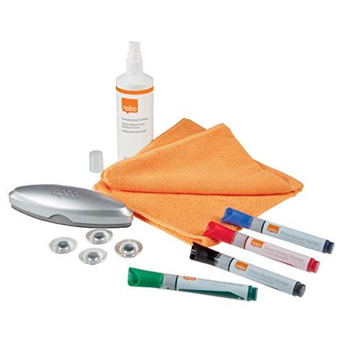 NOBO 1905330 - Kit inicio pizarra CRISTAL (incluye borrador, imanes, rotuladores y productos de limpieza para pizarras de CRISTAL)