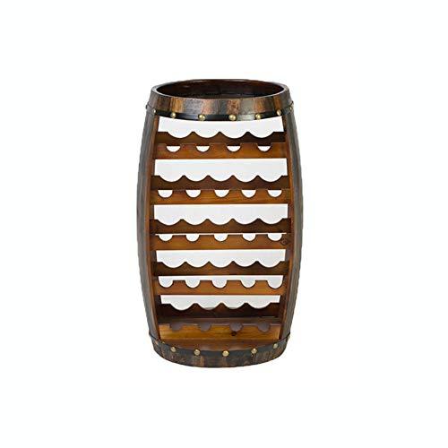 El estante del vino, barril de madera grande formó el sostenedor de botella...