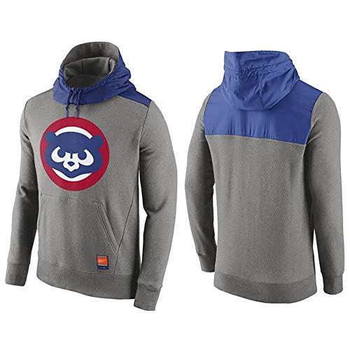 GMRZ Männer Hoodie Jacke, Kapuzenpullover Mit Chicago Cubs Logo Design Major League Baseball Team Sportbekleidung 3D Drucken Sweatshirt-Fan Jersey Lose,L