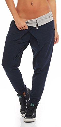 Malito Envolver Pantalón Boyfriend Torcedura Baggy Aladin Bombacho Sudadera 3318 Mujer Talla Única (Azul Oscuro)