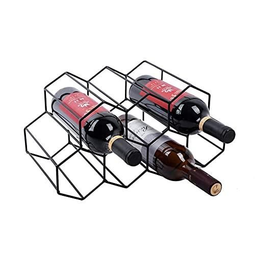 Soporte de almacenamiento de vino para 7 botellas y vino, protector de espacio para encimera, soporte para almacenamiento de vino, color negro (color: negro)