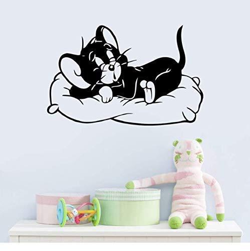 Pegatina de pared con diseño de ratón, para habitación de niños, habitación de niños, sala de estar, vinilo