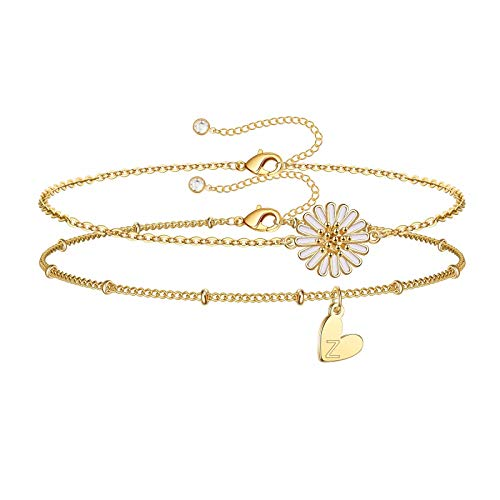 IEFSHINY Z Ankle Bracelets for Women Initial Anklet, 2pcs Layered Letter Anklet with Heart Initials Sunflower Ankle Cute Summer Anklets for Women