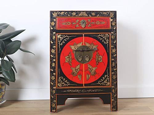 Yajutang chinesische Kommode Sideboard 1 Schublade 2 Türen bemalt schwarz
