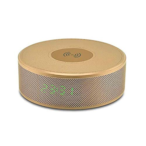 Altavoces Bluetooth, 4 En 1 Cargador Inalámbrico Qi NFC Altavoz Bluetooth con Reloj Despertador FM TF De Radio AUX, para iPhone X XR XS MAX 8, Samsung