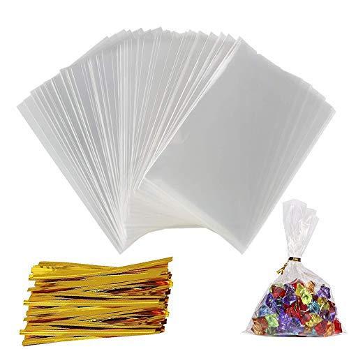 Preisvergleich Produktbild 200 Cellophantüten Klein Süßigkeiten Tüten Zellophantüten Klarsichttüten Transparent Plastiktütchen 9x15 cm mit 300Pcs Twist Krawatten Tütchen für Hochzeit Geburtstag Babyparty Kinderparty