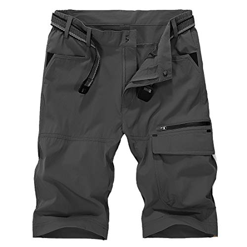 Donhobo - Pantalones cortos para hombre, ligeros, de secado rápido, estilo vintage, con 5 bolsillos gris oscuro 42