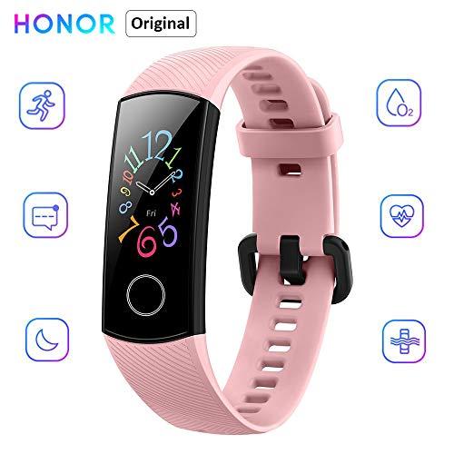 "Honor Band 5 Reloj Inteligente 0.95 ""AMOLED Pantalla a color 50M Monitor de ritmo cardíaco a prueba de agua Pulseras para diferentes modos de deporte (Rosado)"