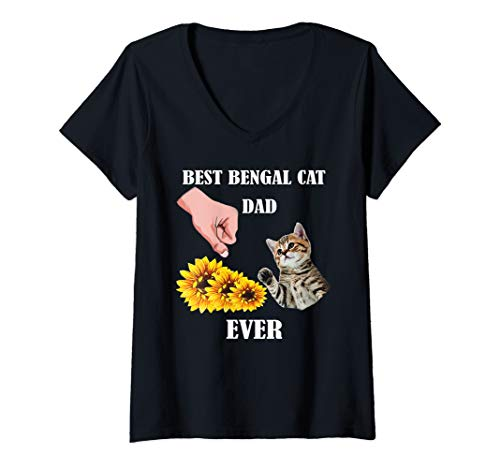 Womens Best Bengal Cat Dad Ever Gift Best Friends For Life Lovers V-Neck T-Shirt