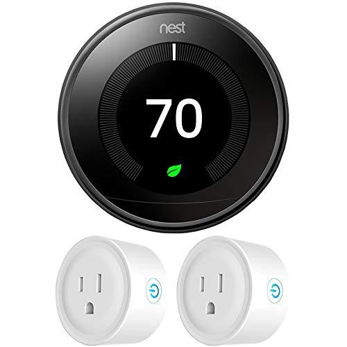 Google Nest T3018US Learning Thermostat 3rd Gen Smart Thermostat, Mirror Black Bundle...