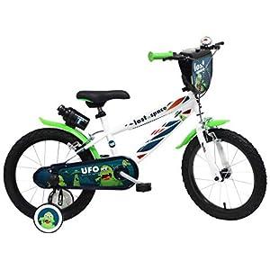 DENVER 16″ UFO Ref. 2416, Bicicletta Bambino, Bianco/Nero/Verde