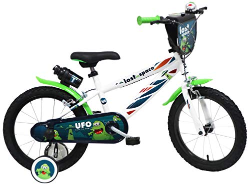 """DENVER 16"""" UFO Ref. 2416, Bicicletta Bambino, Bianco/Nero/Verde"""