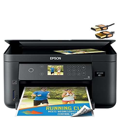 """Epson Expression Home XP-5100 Small All-in-One Color Inkjet Printer - Print Copy Scan - Wireless Connectivity - Mobile Printing - Auto 2-Sided Printing - 14 ISO PPM - 2.4"""" LCD + iCarp HDMI Cable"""