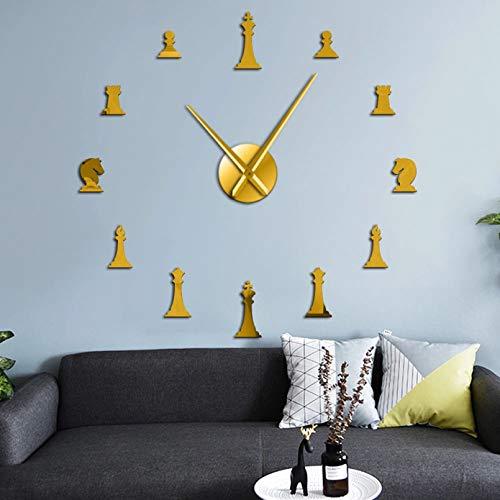 PYIQPL Reloj de Pared 3D Juego de ajedrez DIY Reloj de Pared Gigante Rey Obispo Caballero Peón Reloj de salón Acrílico Efecto de Espejo Ajedrez Jugador de ajedrez Saat Dorado (47inch)