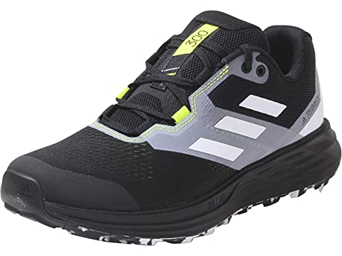 adidas Men's Terrex Two Flow Trail Running Shoe, Core Black/Crystal White/Solar Yellow, 9.5
