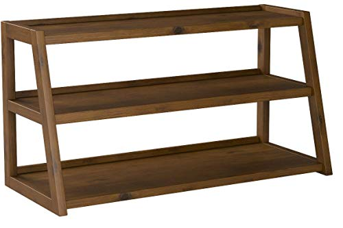 Simpli Home Sawhorse SOLID WOOD Universal TV Media Stand, 48 inch Wide, Modern Industrial, Shelf Cabinet, for Flat Screen TVs up to 55 inches Medium Saddle Brown