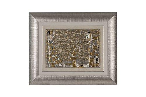 CVC- Quadro da parete, cornice argentata, dettaglio righe. Riproduzione Albero della vita Klimt, in bilaminato argento. Dimensione 51x61 cm. Made in Italy.
