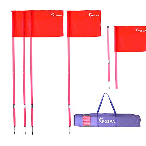 Kosma Faltbare Eckfahnen mit Befestigungsspieß und Feder, pinker Mast, 1,5 m x 25 mm, mit blauen Flaggen, in Tragetasche, 4 Stück