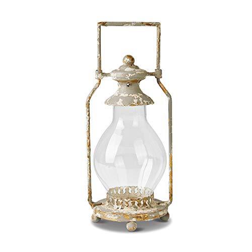 Loberon Laterne UDA, Eisen, Glas, H/B/T 30,5/13 / 11,5 cm, klar/antikgrau