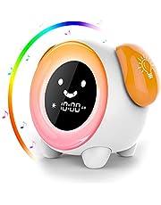 Despertador Infantil,AUELEK Niños Entrenador de Dormir LED despertador luz Digital, 2400mAh Recargable con 2 Alarmas, 3 Modos, 6 Sonidos Naturales, 7 Luces de Colores Ajustables, Función Snooze