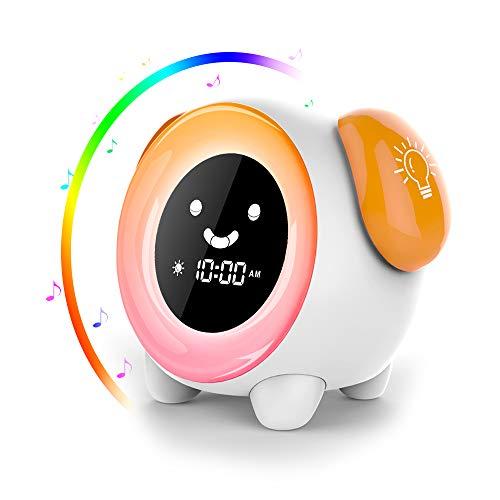 Kinder LED Wecker,AUELEK Lichtwecker Kinderwecker mit LCD-Display 2400 mAh mit 2 Alarmmodi 3 Modi mit 6 natürlichen Tönen und 7 bunten Lichter einstellbar Snooze-Funktion Wecker für Kinder