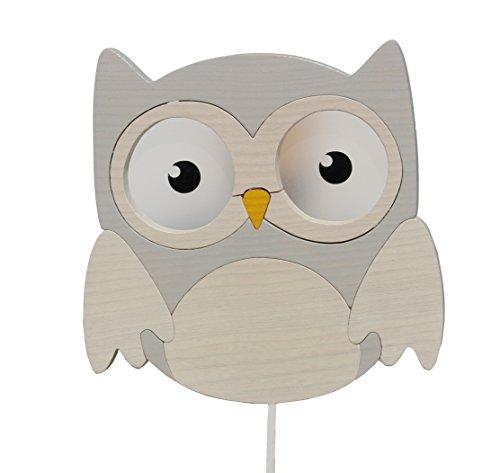 Clevere Kids Kinder Wandlampe Alle Meine Tiere Holz Handarbeit A++ (Eule grau-weiß)
