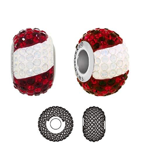 **Beforya Paris** - Charms Bead - Fahne Österreich - die Flagge - Silber 925 Schön Damen Mädchen Charms Beads mit Kristallen von Swarovski mit Geschenkbox PIN/75