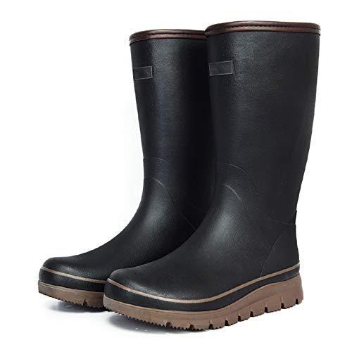 LINGZE Botas de Lluvia Impermeables para Hombres, Zapatos de Agua Ligeros de Goma, Negro/Azul