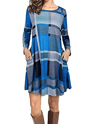 SUNGLORY Women's Casual Long Sleeve Round-Neck Plaid T- Shirts Dress Whit Pockets