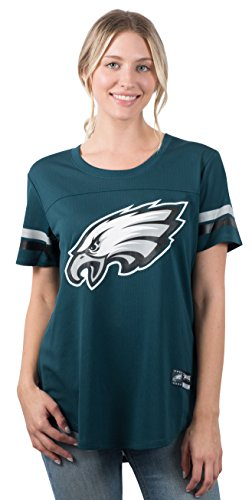 Ultra Game NFL Philadelphia Eagles Womens Soft Mesh Jersey Varsity Stripe Jock Tag Crew Neck Tee Shirt Top, Team Color, Large