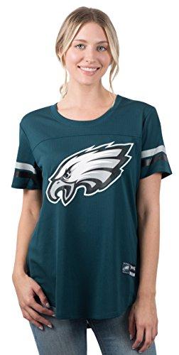 Ultra Game NFL Philadelphia Eagles Womenss Soft Mesh Jersey Varsity Stripe Jock Tag Crew Neck Tee Shirt Top, Team Color, Medium