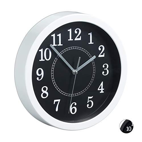 Relaxdays 1 x Wanduhr rund, Ø 20cm, Kleine Uhr zum Aufhängen, Klassisches Design, batteriebetrieben, Sekundenzeiger, Weiß