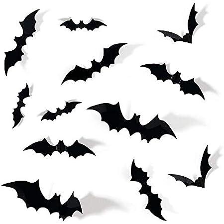 72pcs DIY Halloween Party Supplies PVC 3D Decorative Scary Bats Wall Decal Wall Sticker, Halloween Eve Decor Home Window Decoration Set, Black