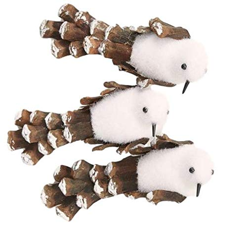 HL Home Snowy Bird Ornaments for Christmas Tree Clip On Set of 3 White Pinecone Woodland