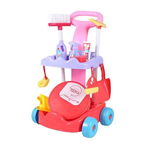 DUTUI Simulation Kinderreinigung Spielhaus Spielzeug Set 15 Stück Set, Mit Kehrmaschine Modell, Aufbewahrungswagen, Geeignet Für Kinder Geburtstagsgeschenke